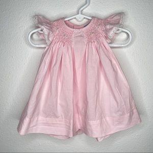 Baby Sen smocked bishop dress bloomers pink